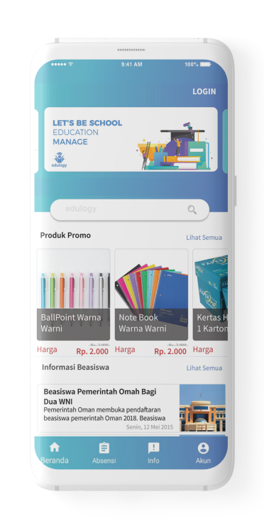 Edulogy app main screen
